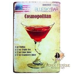 Plaque Déco Vintage Cocktail Cosmopolitan -- 20x30cm