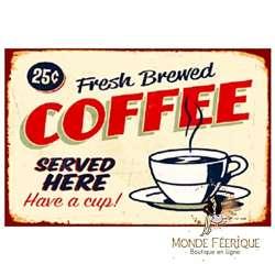 Plaque Métal Décoration Café Vintage-- 20x30cm
