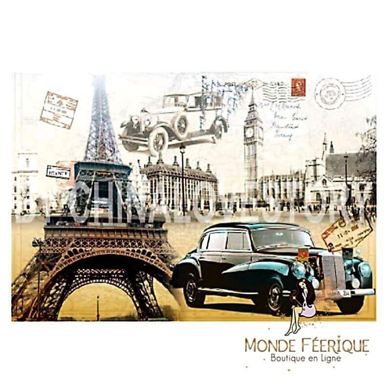 Plaque Décoration Vintage Paris d'Antan -- 20x30cm