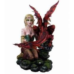 Grande Figurine Fée Puissance avec Dragon