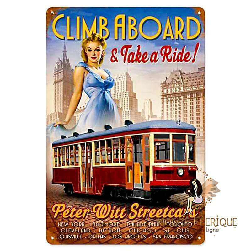 Plaque Déco Vintage Tramway Pin Up Ancien -- 20x30cm