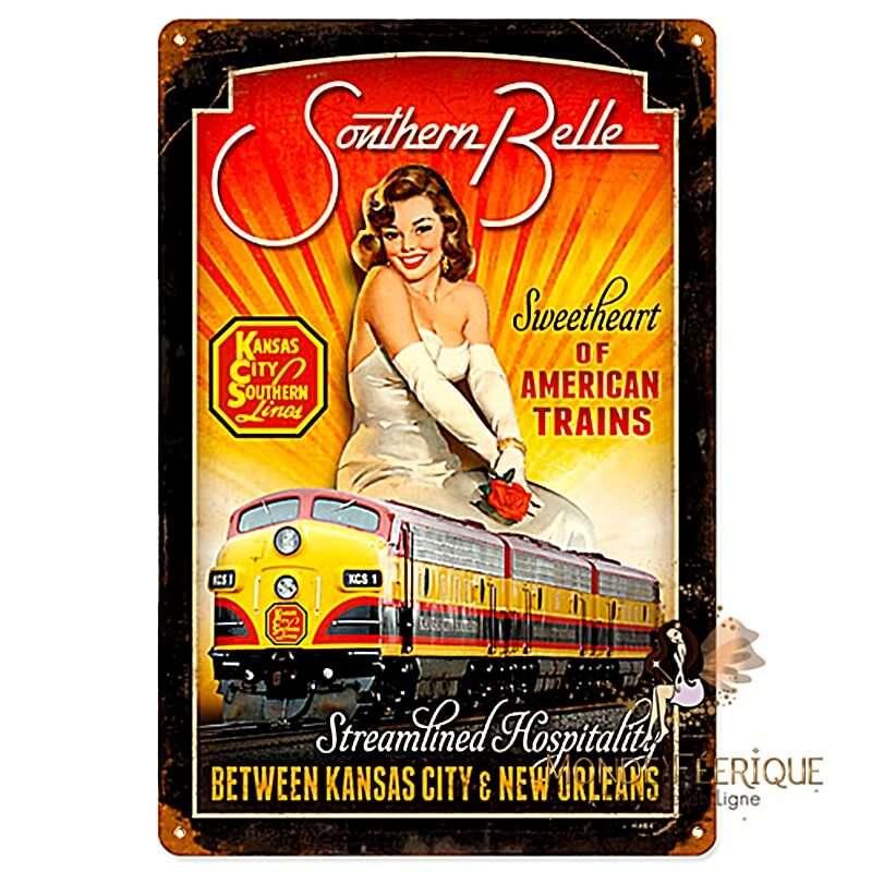 Plaque Metal Déco Trains Americains