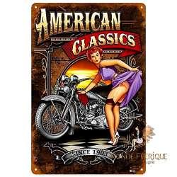 Plaque Déco Mur Motos Vintages et Pin Up USA -- 20x30cm