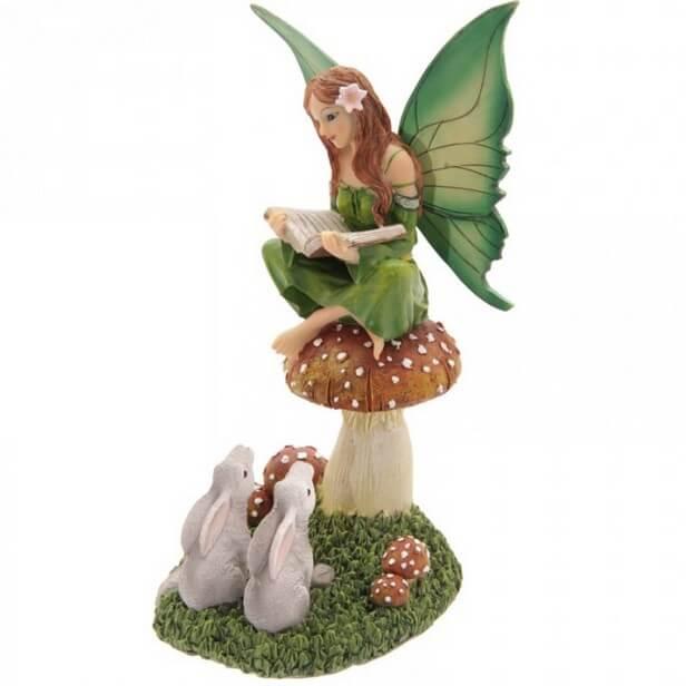 Figurine Fée avec Animaux Forêt 22cm