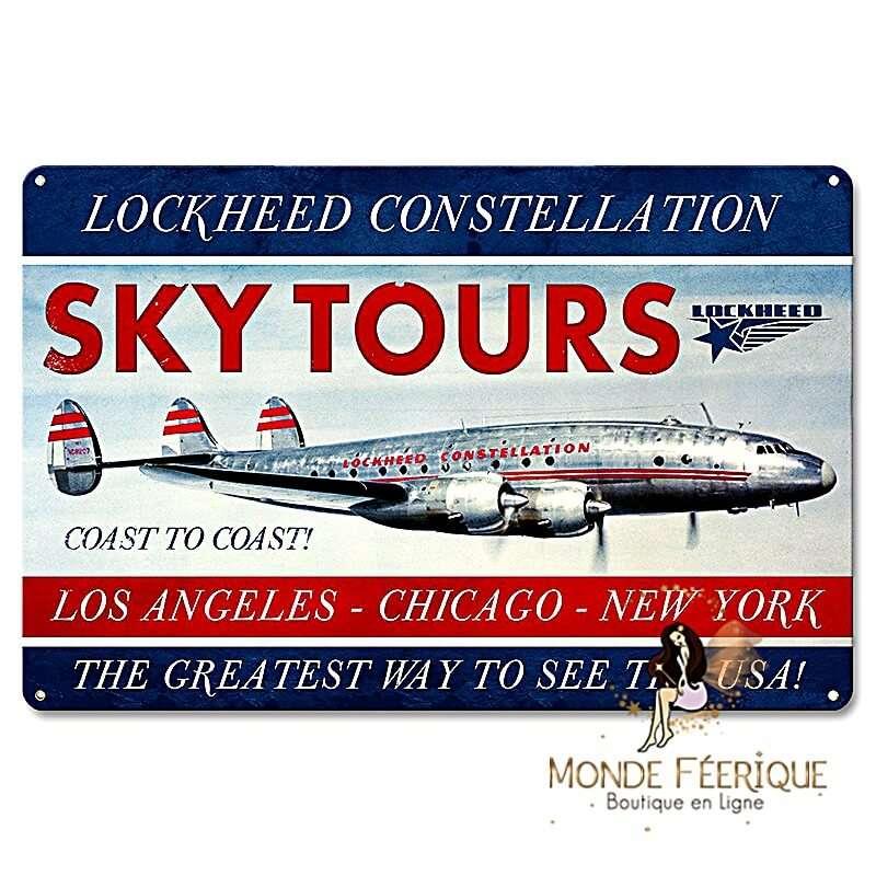 """Plaque vintage avion """"Sky Tours"""""""