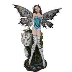 Grande Figurine de Fée avec Tigre Blanc 67cm
