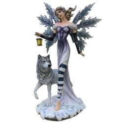 Statuette Fee Geante Lanterne et Loups -- 56cm
