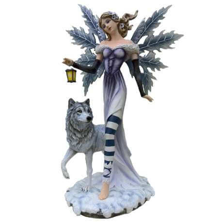 Statuette Fee Geante avec Loups 56cm