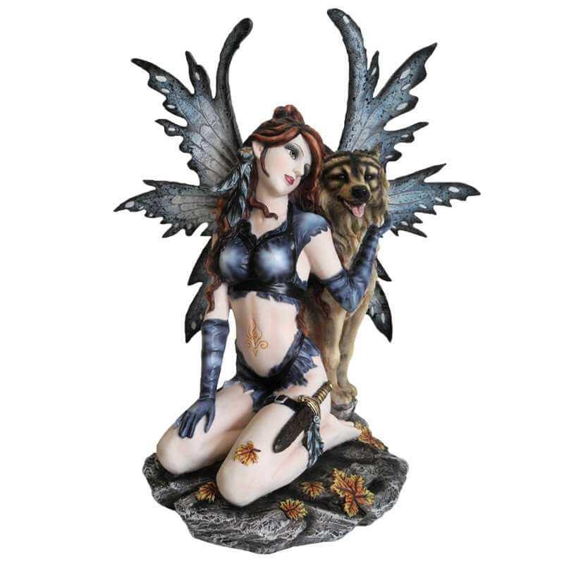"""Grande statuettes fée """"Ami des Loups"""" -- 36cm"""
