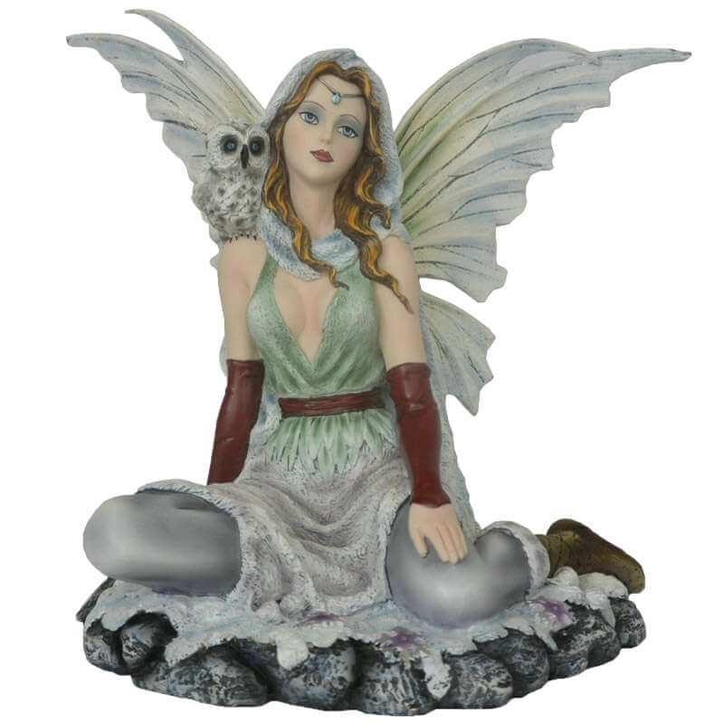 Grande Statuette fée avec Chouette -- 40cm
