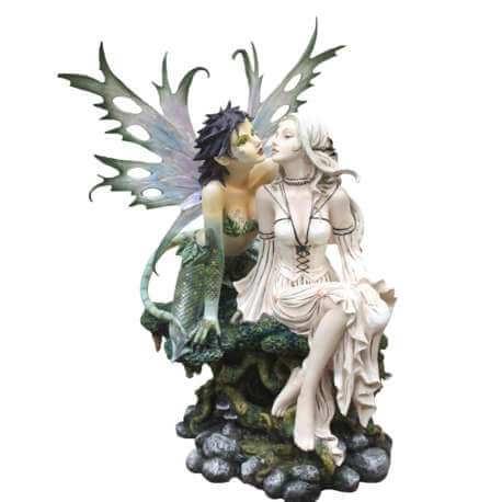 """Grande Statue fée """"Les Inséparables"""" 44cm"""