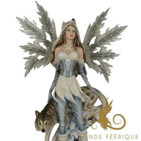Statue de Fée Géante Loup et Neige 65cm