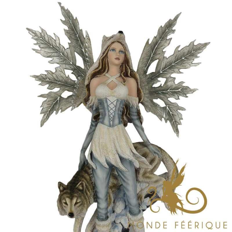 Statue de Fée Géante Loup et Neige -- 65cm