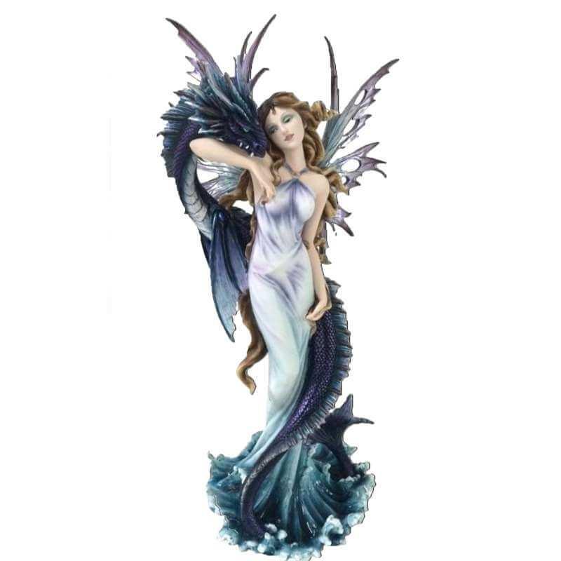 Statue fée Géante Dragon Blue Dark -- 60cm