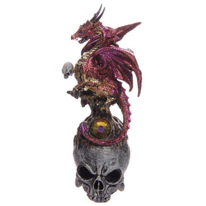 Figurine Dragon Gothique Tête de Mort