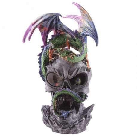 Statuette Dragon avec Tête de Mort s'Allumant