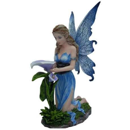 Statuette Fée Orchidée Bleu