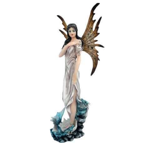 Figurine Fée Nymphe avec dragon bleu 30cm