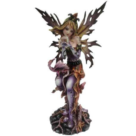 """Statuette fee avec Dragon """"Rêve d'un Jour"""" - 30cm"""