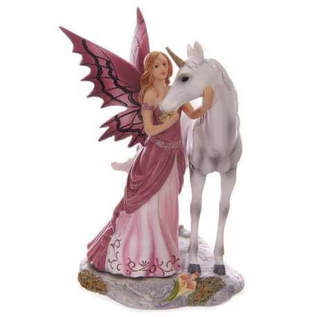 Figurine Fée Avec Licorne Lisa Parker