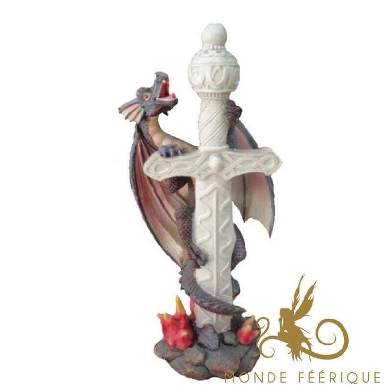 Décoration Figurine Dragon avec Epée Blanche